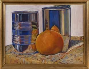 """RANDY HUDSON (Nantucket, Contemporary), """"Orange Cans"""".,"""