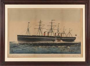 """CURRIER & IVES HAND-COLORED LITHOGRAPH """"THE IRON"""