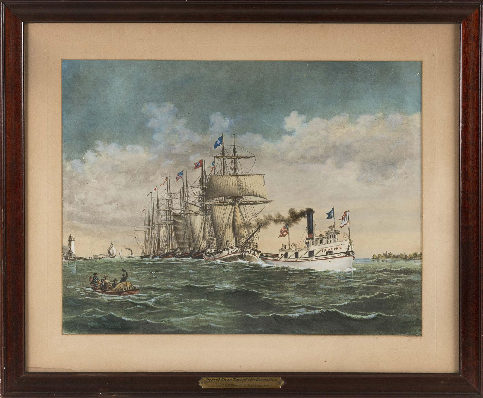 """HAND-COLORED LITHOGRAPH """"THE DETROIT RIVER TOW OF"""
