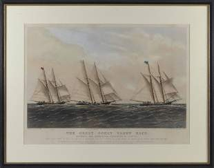 """CURRIER & IVES LITHOGRAPH """"THE GREAT OCEAN YACHT"""