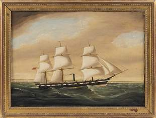 PORTRAIT OF A BRITISH THREE-MASTED STEAM-SAIL FRIGATE