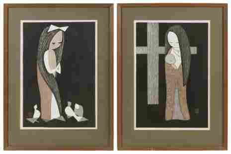 KAORU KAWANO (Japan, 1916-1965), Two views of a young