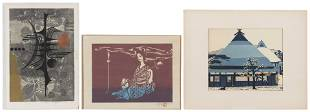 THREE WOODBLOCK PRINTS 20th Century Two Oban yoko-e and