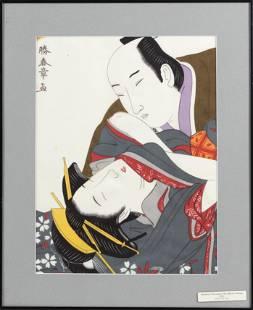 SHUNGA WOODBLOCK PRINT 20th Century Dai Oban tate-e.