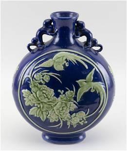 CHINESE CELADON ON COBALT BLUE PORCELAIN MOON FLASK