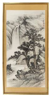 """CHINESE SCROLL PAINTING ON PAPER 19th Century 47"""" x"""