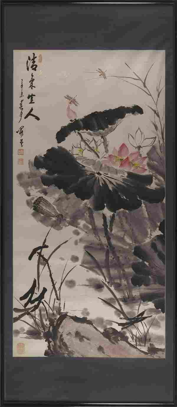 CHINESE WATERCOLOR SCROLL PAINTING ON PAPER IN THE