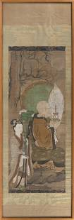 """CHINESE SCROLL PAINTING ON SILK 19th Century 37.5"""" x"""