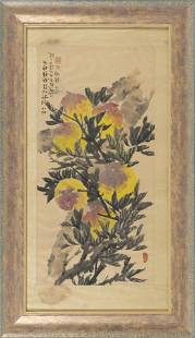 """CHINESE SCROLL PAINTING ON PAPER Circa 1900 26.5"""" x"""