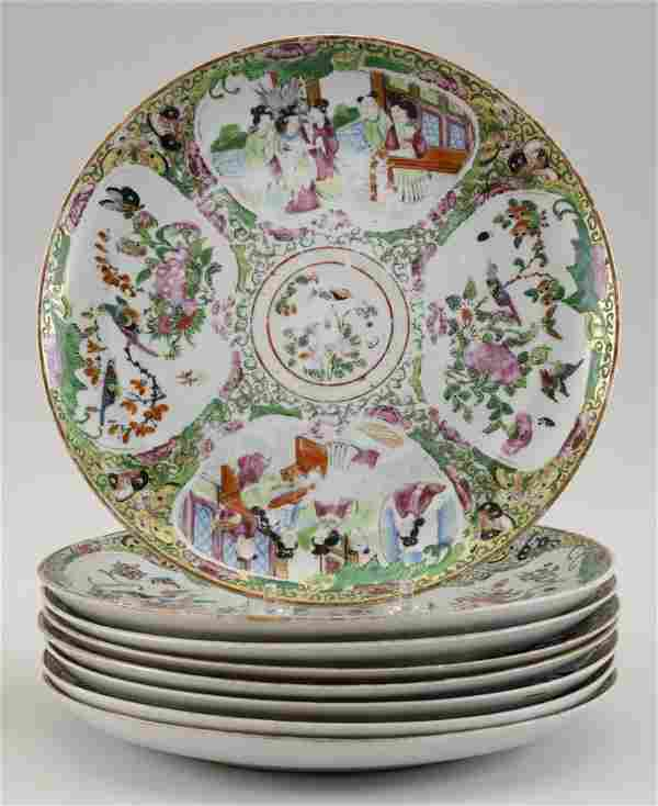 SET OF EIGHT CHINESE EXPORT ROSE MEDALLION PORCELAIN