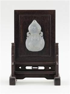 CHINESE HUANGHUALI TABLE SCREEN WITH INSET JADE PLAQUE