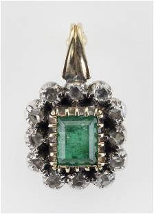 PENDANT MADE FROM ANTIQUE GOLD, AN EMERALD AND DIAMONDS