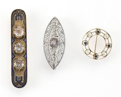 THREE ANTIQUE GOLD PINS