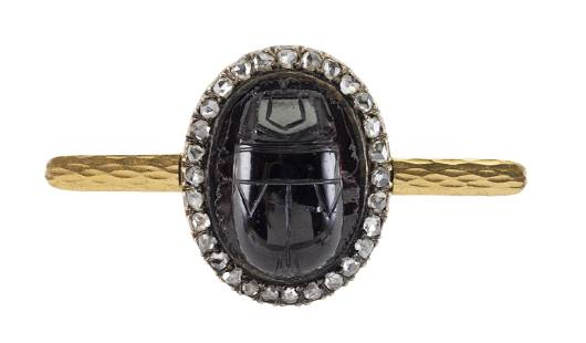 VICTORIAN GOLD, CARVED GARNET AND DIAMOND SCARAB BROOCH