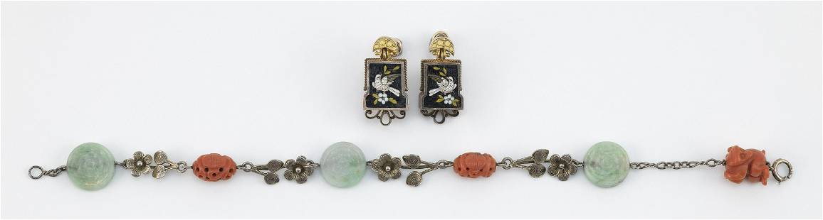 PAIR OF MICROMOSAIC EARRINGS AND A SILVER, CORAL AND