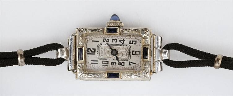 ART DECO ESEF 20KT WHITE GOLD AND SYNTHETIC SAPPHIRE