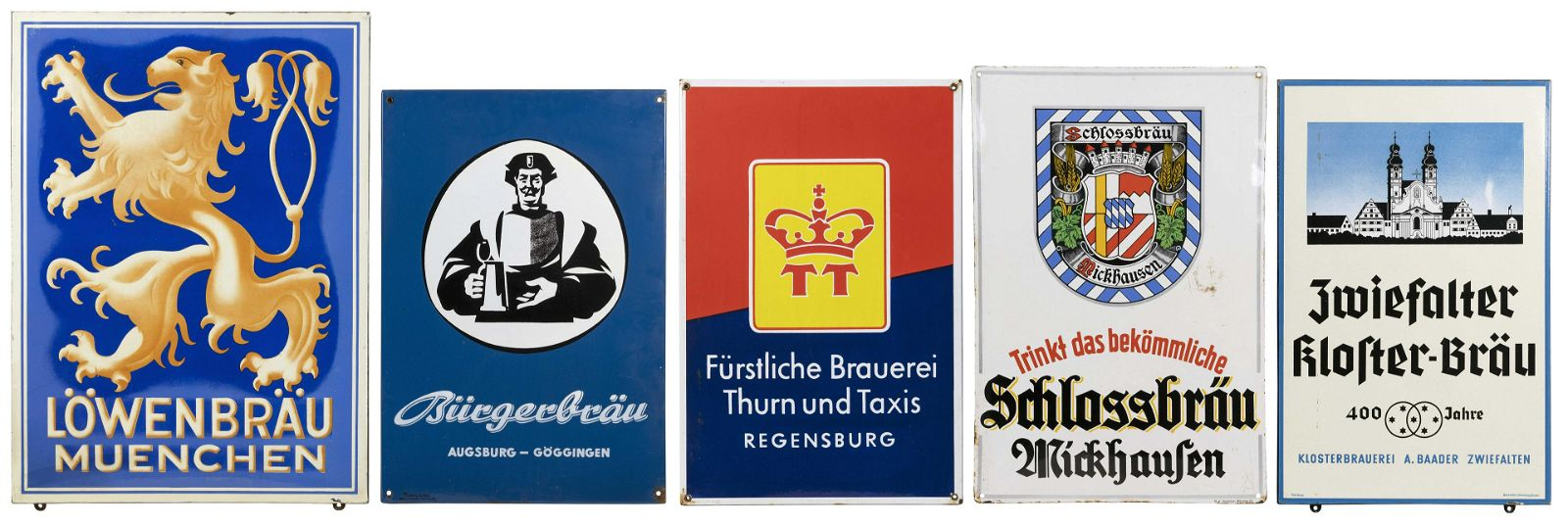 FIVE PORCELAIN-OVER-TIN GERMAN BEER SIGNS 20th Century