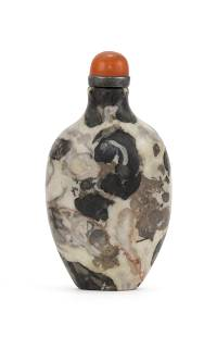 """CHINESE PUDDINGSTONE SNUFF BOTTLE Height 2.7"""". Agate"""