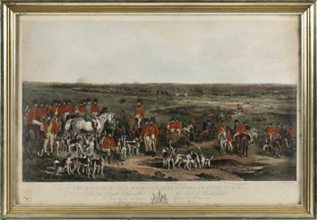 """ENGLISH HAND-COLORED ENGRAVING """"THE MEETING OF HER"""