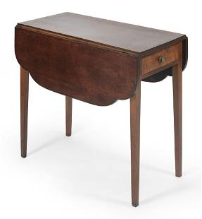 """SHERATON DROP-LEAF TABLE Late 19th Century Height 29""""."""