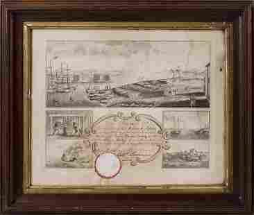 SALEM MARINE SOCIETY CERTIFICATE Engraving on paper,