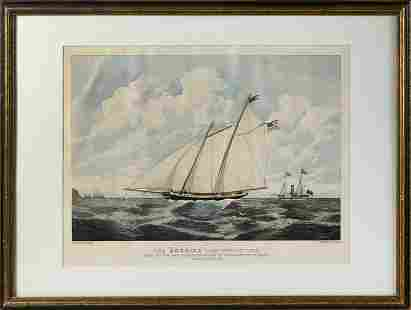 """HAND-COLORED ENGRAVING """"THE 'AMERICA' SCHOONER ..."""""""