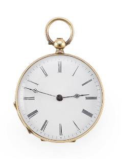AIOUILLES 18KT GOLD AND ENAMEL OPEN FACE POCKET WATCH
