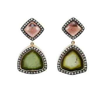 PAIR OF 14KT GOLD, TOURMALINE AND DIAMOND EARRINGS