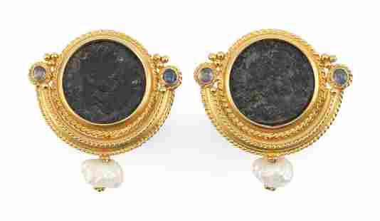 PAIR OF 18KT GOLD, BRONZE COIN, FRESHWATER PEARL AND