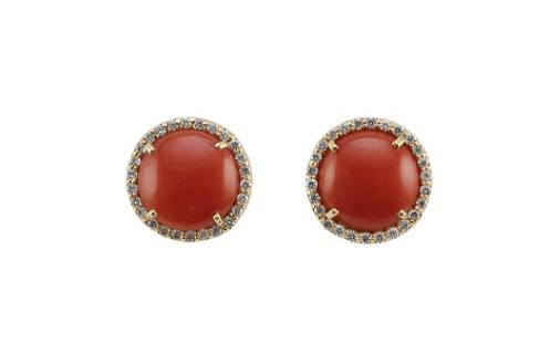 PAIR OF 18KT GOLD, CORAL AND DIAMOND STUD EARRINGS