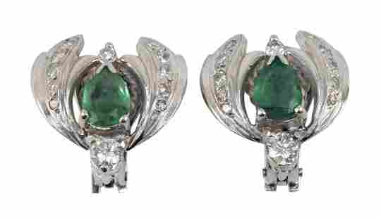 PAIR OF WHITE GOLD, EMERALD AND DIAMOND EAR CLIPS