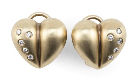 PAIR OF 14KT GOLD AND DIAMOND HEART-FORM EAR CLIPS