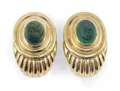 PAIR OF 18KT GOLD AND EMERALD EAR CLIPS Approx. 17.45