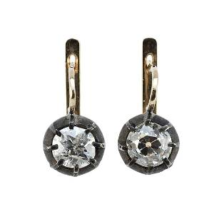 PAIR OF GOLD AND DIAMOND EARRINGS Approx. 3.74 total