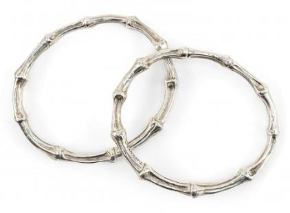 TWO TIFFANY & CO. STERLING SILVER BAMBOO BANGLE