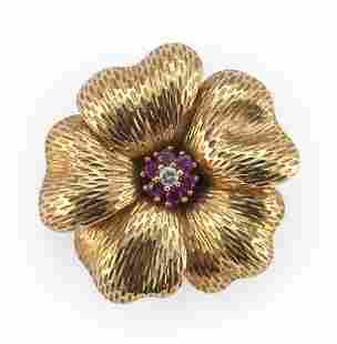 TIFFANY & CO. 18KT GOLD, RUBY AND DIAMOND FLORIFORM PIN
