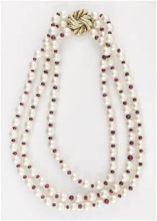 18KT GOLD, CULTURED PEARL AND RUBY BEAD TRIPLE-STRAND