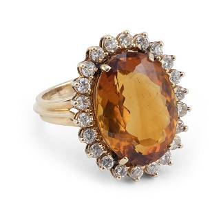 VINTAGE 14KT GOLD, CITRINE AND DIAMOND COCKTAIL RING