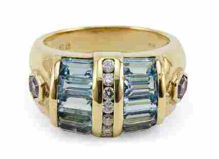 18KT GOLD, BLUE TOPAZ, DIAMOND AND AMETHYST RING
