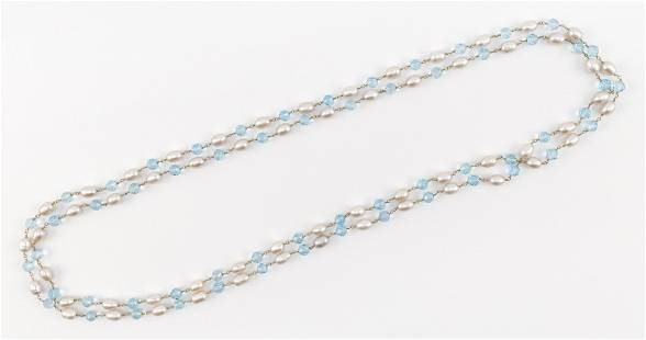 14KT GOLD, BLUE TOPAZ AND CULTURED PEARL BEAD NECKLACE