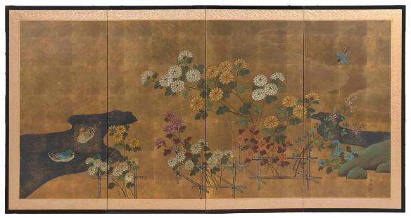 JAPANESE FOUR-PANEL SCREEN Late Meiji Period Height