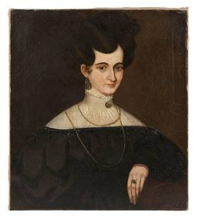 PORTRAIT OF A WOMAN Early 19th Century Oil on canvas,