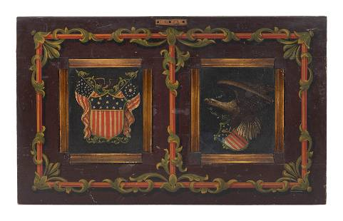 AMERICANA-DECORATED WOODEN ARCHITECTURAL ELEMENT Late