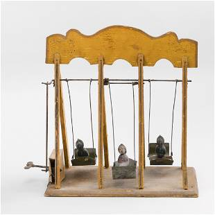 FRENCH TIN AND WOOD SWING TOY Late 19th Century Height
