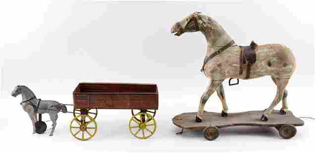 TWO HORSE-DRAWN PULL TOYS 19th/Early 20th Century