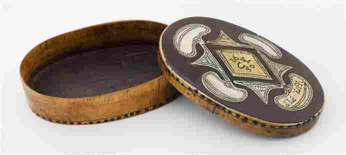 17TH CENTURY ENGLISH CEDAR AND HORN SNUFF BOX Circa