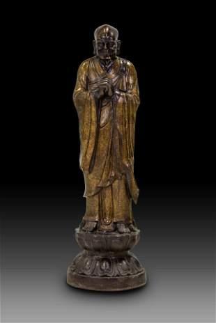STANDING BUDDHIST MONK SCULPTURE