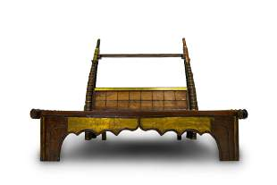 ONE-OF-A-KIND ROYALTY SOLID WOOD BED WITH BRASS