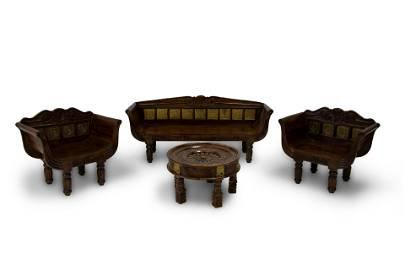TEAK DINING SET WITH  ETHNIC ROUND TABLE