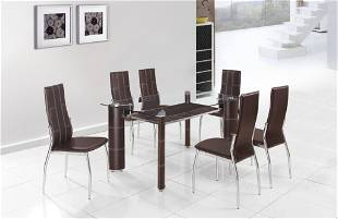 CONTEMPORARY GLASS DINING TABLE WITH 2 TIERS